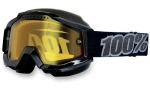 100% Accuri Snow Black Tornado/Yellow Vented Dual Lens очки
